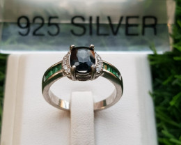 19.45ct Natural Greenish color Spinel with CZ in 925 Sterling Silver Ring.