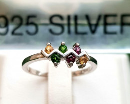 7.70ct Natural Superb Multi Stones In 925 Sterling Silver Ring