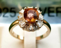 21.50 Natural Pinkish Tourmaline In 925 Sterling Silver Ring.