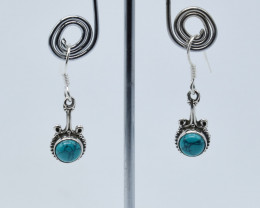TURQUOISE EARRINGS 925 STERLING SILVER NATURAL GEMSTONE JE62