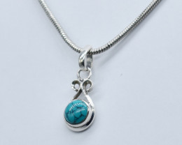 TURQUOISE PENDANT 925 STERLING SILVER NATURAL GEMSTONE JP63
