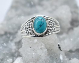 TURQUOISE RING 925 STERLING SILVER NATURAL GEMSTONE JR891