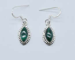 MALACHITE EARRINGS 925 STERLING SILVER NATURAL GEMSTONE JE65