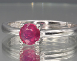 Natural Ruby ,Silver Ring