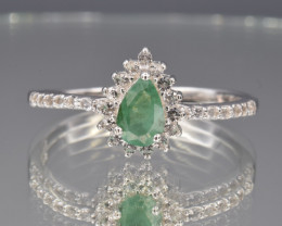 Natural Emerald with Small White Topaz ,Silver Ring