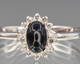 Natural Black Opal  with Small White Topaz , Silver Ring