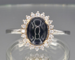 Natural Black Opal  with Cz and Silver Ring