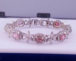 Natural Tourmaline with Cz Bracelet.