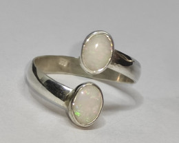 Open 950 silver ring with solid opals