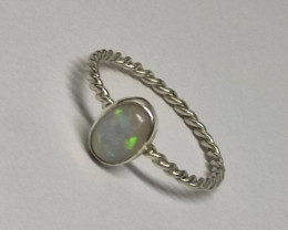 Silver ring 950 twisted with opal oval shape