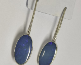 Silver earrings 950 hook with opal doublet oval shape