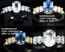 100%Natural fluorescent tenebrescent color change Scapolite ,CZ 925 Silver