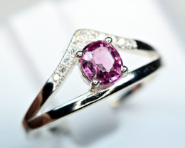 Natural top Burma Pink Spinel ,CZ 925 Silver Ring