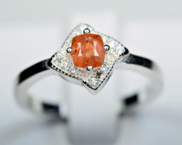 Natural top color extremely Rare unusual Triplite ,CZ 925 Silver Ring
