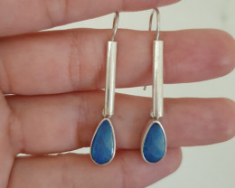 Silver earrings 950 hook with opal doublet drop shape