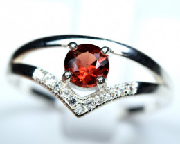 Natural top Burma red Spinel ,CZ 925 Silver Ring