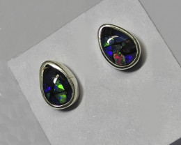 Silver 950 stud earrings with opal mosaic drop shape