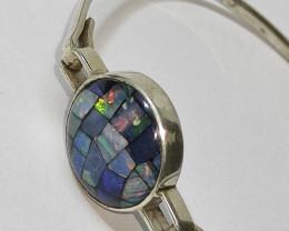 Bracelete em prata 950 com opala mosaico forma redondo