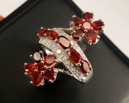 Natural Rodholite garnet with CZ Ring .