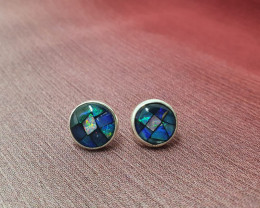 950 silver earrings with round shape mosaic opal