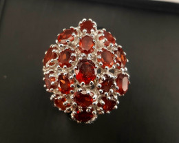 Natural Rodholite garnet Cluster Ring.