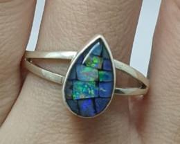 Anel em prata 950 com opala mosaico forma gota