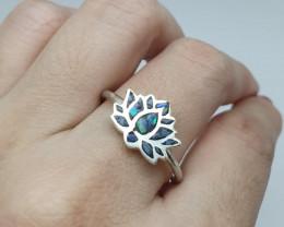 Anel em prata 950 com opala mosaico forma flor de lótus