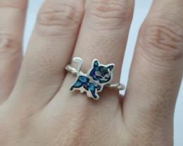 Anel em prata 950 com opala mosaico forma gato