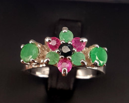 Natural emerald Ruby and Sapphire Ring.