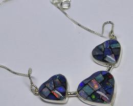 Colar em prata 950 com opala mosaico forma coração