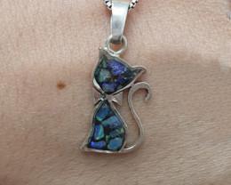 Pingente em prata 950 com opala mosaico forma gato