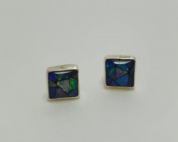 Earrings in 950 stud silver with square shape glass mosaic opal