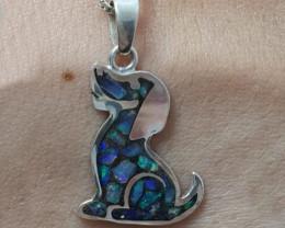 Pingente em prata 950 com opala mosaico forma cachorro