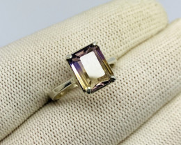 Natural BI Color Bolivianite (Ametrine) 925 Sterling Silver Ring
