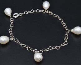 Natural Fresh water pearl , Silver Bracelets