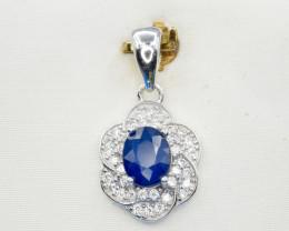 Natural Blue Sapphire and 925 Silver Pendant, Elegant Design