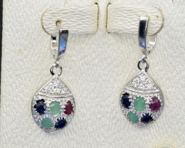 Natural Sapphire, Emerald, Ruby and 925 Silver Earring, Elegant Design
