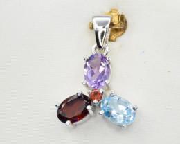Natural Topaz, Amethyst, Rhodolite and 925 Silver Pendant, Elegant Design