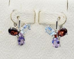 Natural Topaz, Amethyst, Rhodolite and 925 Silver Earring, Elegant Design