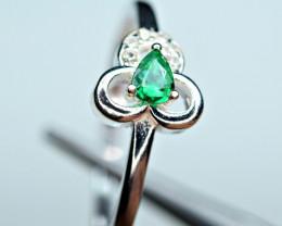 Natural transparent Precious top highest green Emerald ,CZ 925 Silver ring