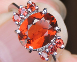 Red Citrine with Garnet in Rhodium