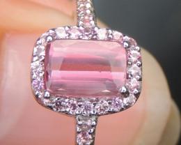 Malaya Garnet w/ Pink Sapphire in Rhodium