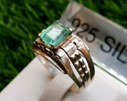 25.70ct Natural Tourmaline light Green Color in 18k Silver Handmade Ring.