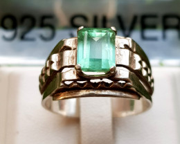 25.70ct Natural Tourmaline light Green Color in  Silver Handmade Ring.