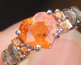 Neon Orange Spessartite Garnet in Rhodium