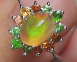 Opal w/ Tsavorite and Spessartite in Rhodium