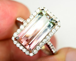 huge size Transparent Nice bi color 5Carat Tourmaline ,CZ 925 Silver Ring