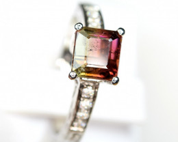 Natural top bi Color Amazing Tourmaline,CZ 925 Silver Ring