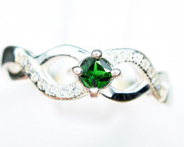 3mm Natural highest color Tsavorite Green Garnet 925 Silver Ring