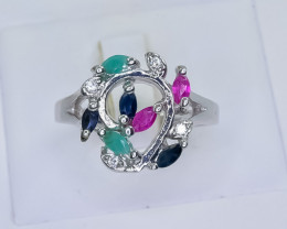 25.57 Crt Natural Ruby Emerald And Sapphire 925 Sterling Silver Ring